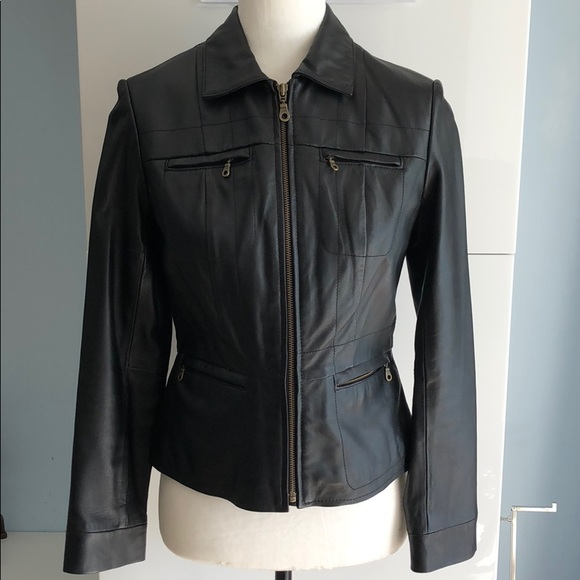 hot-selling real best price official images Alfani Women's Black Leather Jacket Petite P NWOT